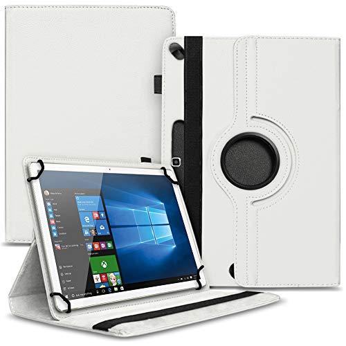 Tablet Schutz Hülle kompatibel für Lenovo Miix 320 310 300 Tasche aus hochwertigem Kunstleder mit Standfunktion 360° Drehbar Cover Case, Farben:Weiß