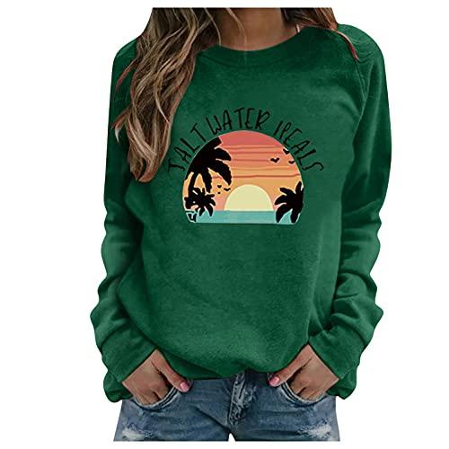 Cloodut Damen Herbst Winter Löwenzahn Rundhals Sweatshirt Langarmshirt Plus Size Drucken Pullover Bluse Tops Oberteile(Grün,M)