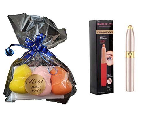 Gift for her: Make up sponge (3pcs) + Eyebrow Trimmer