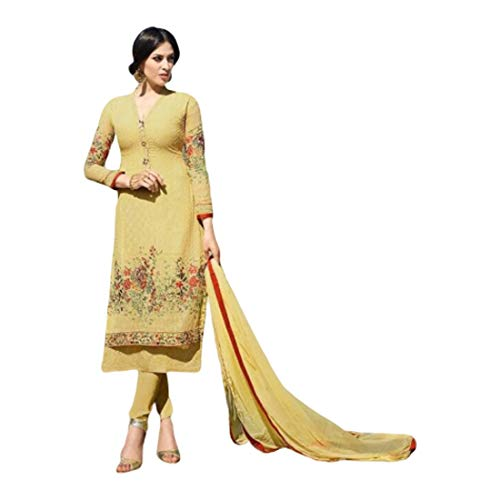 Georgette amarillo étnico recto churidar pijama mujeres formal traje de fiesta musulmán Salwar Kameez 9671