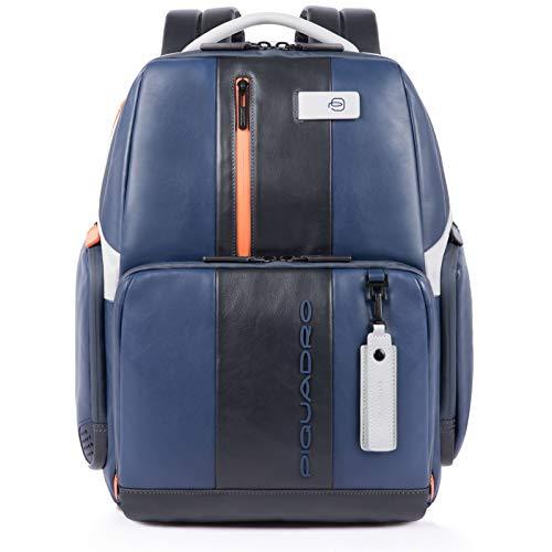 """Piquadro Zaino Fast-Check Porta PC 15,6"""" iPad Tasca per CONNEQU e Anti-frode RFID 34x44x18cm Collezione Urban CA4532UB00/BLGR Blu e Grigio Dettagli Arancioni"""