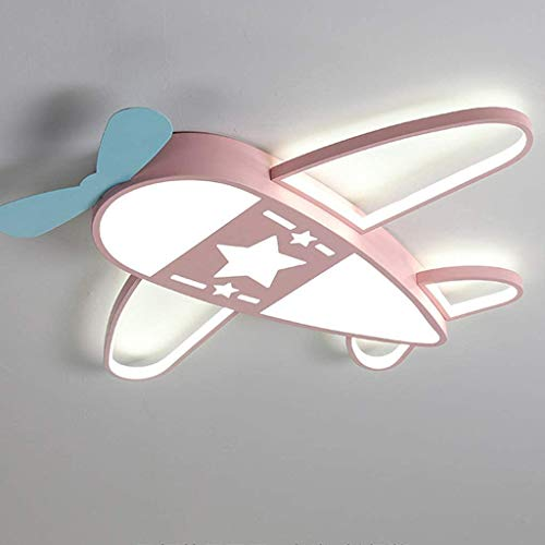 Lámpara De Techo LED Regulable Control Remoto Luz De Techo Avión Moderno Lámparas De Diseño Acrílico De Metal Dormitorio Sala De Estar Cocina Oficina Comedor Iluminación (Pink,59cm dimmable)