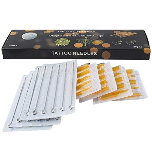 Naliovker 20 PièCes Aiguilles de Tatouage en Acier Inoxydable avec 20Pcs Jetables Embouts de Tatouage Tubes Ensemble Bec StéRile Semi-Permanent Rl/Rt