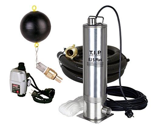 T.I.P. 30196 Zisternen-Tauchdruckpumpe Edelstahl EJ 5 Plus mit Anschlusszubehör und elektronischer Pumpensteuerung, bis 5.700 l/h Fördermenge
