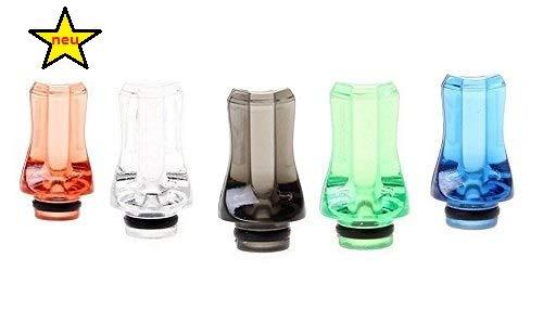FLAT Crystal-Acryl Drip Tip, fit für ViVi Nova/DCT und 510 Clearomizer im 5er Sparpack (5 Farben)