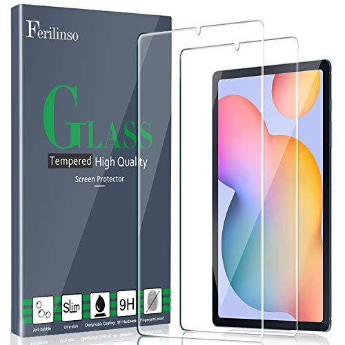 Ferilinso [2 Pezzi] Pellicola Protettiva per Samsung Galaxy Tab S6 Lite, Vetro Temperato [Compatibile con la Cover] [Alta Definizione] [9H Durezza] [Anti-Graffio] [2.8D Bordo Arrotondato]