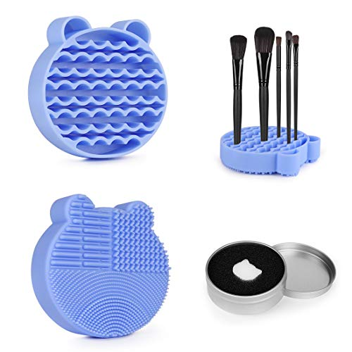 Brush Cleaning Mat+Color Removal Sponge,2 in 1 Silicone Brush Cleaning Mat with Holder for Storage&Air Dry Brushes,Clean Makeup Brushes Instantly-Blue