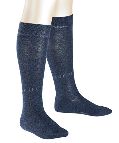 ESPRIT Kinder Kniestrümpfe Foot Logo 2-Pack - Baumwollmischung, 2 Paar, Blau (Navy Blue Melange 6490), Größe: 31-34