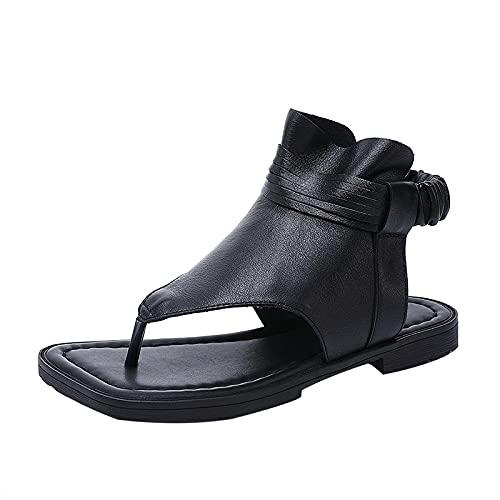Sandalias sueltas para mujer, sandalias de tacón plano con puntera de clip, sandalias sólidas de cuero