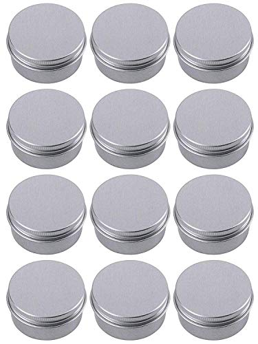 Hulless Aluminum Tin Jar 0.5oz Refillable Containers 15ml, Cosmetic Small tin, Aluminum Screw Lid Round Tin Container Bottle for Candle, Lip Balm, Salve, Eye Shadow, Powder, 12 Pack.