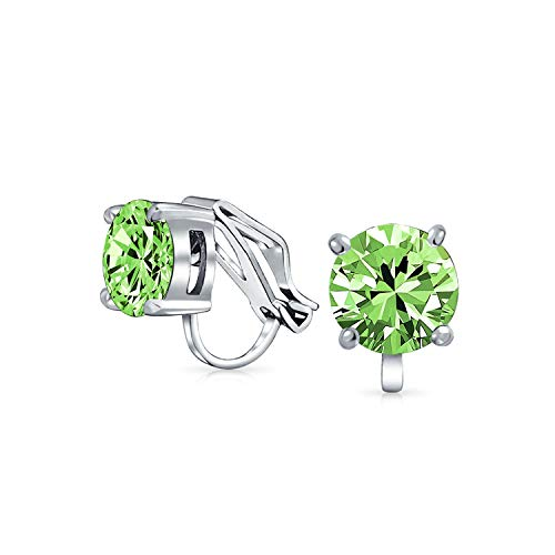2CT Green Brilliant Cut Solitaire Round Cubic Zirconia CZ Clip On Stud Earrings Simulated Peridot Silver Plated Brass