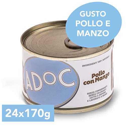 Adoc - Cibo Umido per Cani Adulti con Ingredienti Naturali Pollo e Manzo - 24 lattine da 170gr