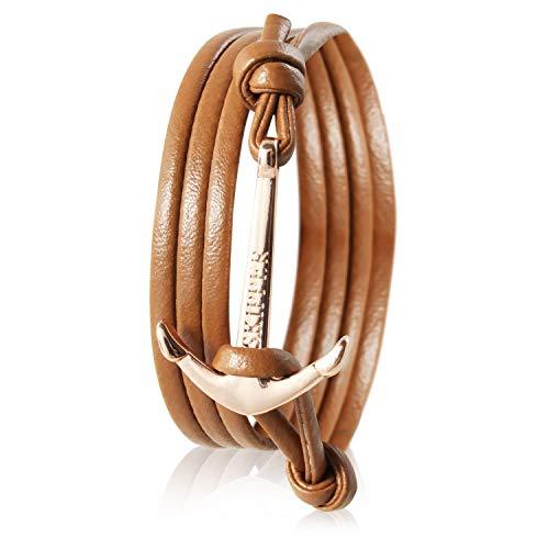 Skipper Leder-Armband mit Goldenem Edelstahl Anker für Damen und Herren - Cognac 7356