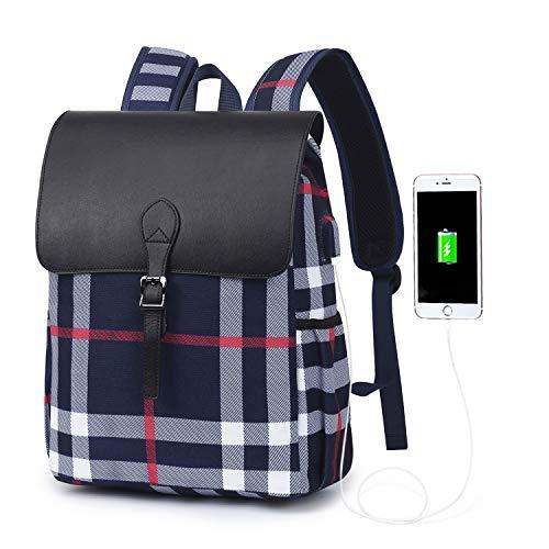Wind Took Zaino Porta PC da Donna con Porta USB Zaino per Computer 14 Pollici Zaino Moda in Tela Elegante Laptop Backpack Zaino da Viaggio e Lavoro Blu scuro