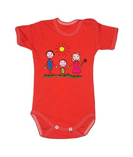 Couleur Mode Dessin Famille Sunny Day bodies à manches courtes 100% coton Petit bébé, 52–24 mois 0015 Red tiny baby, 52 cm