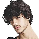 Kaneles Mens Short Curly Black Wig with Bang Halloween Cosplay Costume Costume Party Natural Hair Wig