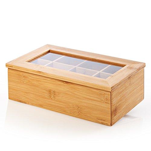 Lumaland Cuisine Teebox aus Bambus mit 8 Fächern 26 x 16 x 9 cm - aufklappbarer Deckel mit Sichtfenster - ideal für Aromaschutz - Teekiste Teekasten - nachhaltig praktisch dekorativ edel