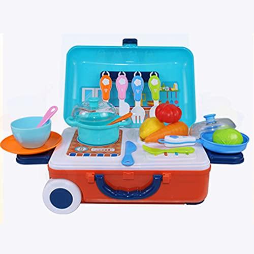 shhjjyp 3 In 1 Cocinita De Juguete con Maletas Cocina De Juguete Plegable Juegos De rol Educativo con Accesorios Cocina De Juguete Plegable para NiñOs A Partir De 3 AñOs