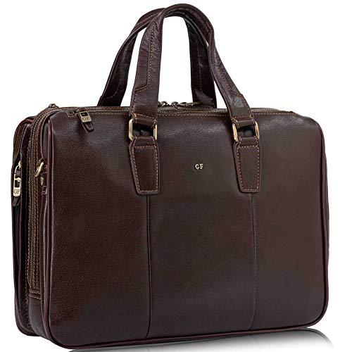 G.FERRETTI VOJAG Men's Leather 14 Inch Shoulder Bags Leather Bag Briefcase Messenger Bag Document Bag for Business Office for Laptop Bag Brown