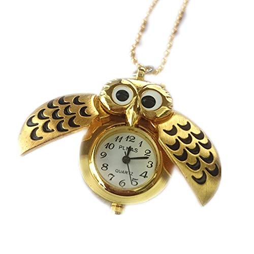 Reloj de bolsillo de cuarzo analógico con colgante de búho volador antiguo para hombre con collar de TheBigThumb