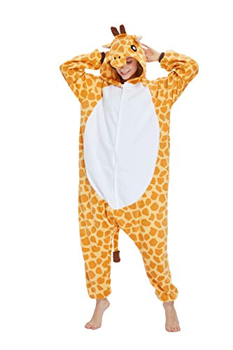 Unisex Adult Onesie Animal Pajamas-Halloween Giraffe One Piece Plush Cosplay Costume Sleepwear