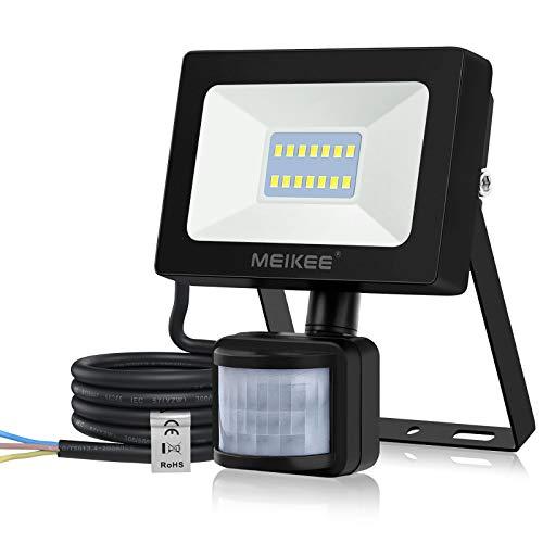 MEIKEE 15W LED Strahler mit Bewegungsmelder 1400LM superhell LED Fluter IP66 wasserdicht Flutlichtstrahler Aluminium Scheinwerfer Licht Wandleuchte für Garten Garage Sportplatz