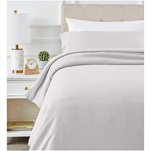 Amazon Basics - Juego de ropa de cama con funda de edredón, de microfibra, 135 x 200 cm, Gris claro