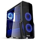 Empire Gaming - Caja PC para juegos WarFare negra LED azul: USB 3.0, 3 ventiladores LED 120 mm, pared lateral ahumado transparente - ATX/mATX/mITX