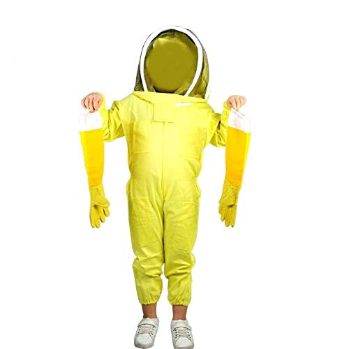 MINGMIN-DZ Dauerhaft Kinder-Ganzkörper-Bienenzucht Anzug, Bienenzucht Anzug for Kind, Biene Imker Klage mit Self Supporting Veil Hood for Kinder (Color : Yellow 130-140CM)
