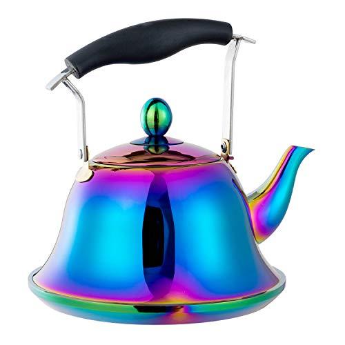 AMOMGard Bollitore a fischietto per induzione a gas, in acciaio inox, teiera con filtro rimovibile, infusore per tè, caffè, cottura rapida, 2 l, arcobaleno, multicolore
