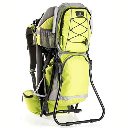 DROMADER Zaino-porta-bambini Hippo | Peso massimo del bambino 22 kg | Sedile confortevole e regolabile | Sistema portante 3D Opti–fit | Tasche pratiche | Tettino parasole | verde lime e grigio