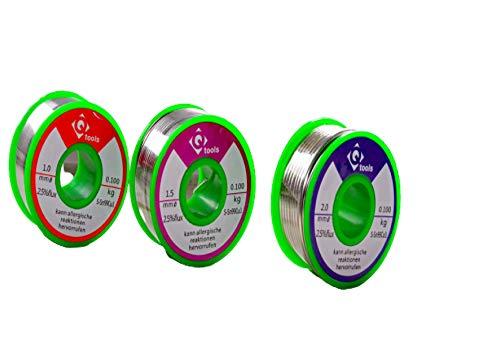 Q-Tools - 3 bobinas de estaño para soldar de 100 g, 1 mm, estaño de soldadura de 1,5 mm y estaño de soldadura de 2 mm, SN99.cu.1