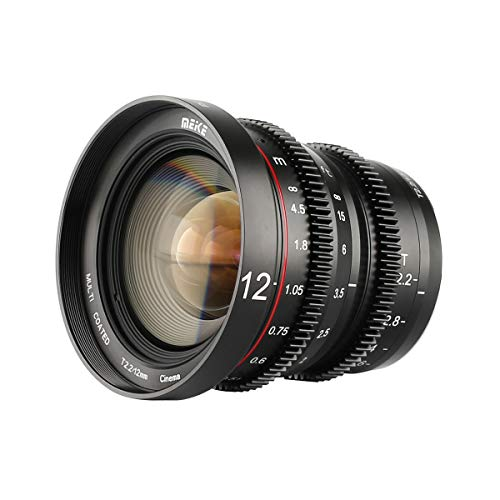 Meike MK-12mm T2.2 Large Aperture Manual Focus Prime Low Distortion Mini Cine Lens for Micro Four Thirds M43 MFT Olympus Panasonic Lumix BMPCC 4K Zcam E2