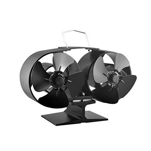 PKA Ventilator mit 8 Flügeln, 2 Motoren, wärmebetrieben, umweltfreundlich, Kraftstoffsparend, Aluminium, Schwarz für Holz-Gas, Kohle, Pellets, Holzheizungen, Schwarz CN –