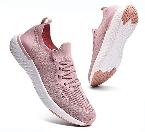 Sosenfer Turnschuhe Damen Herren Sneaker Sportschuhe Laufschuhe Atmungsaktiv Leichtgewichts Walkingschuhe-Pink06-38