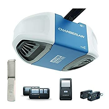 Chamberlain B550 Smart Garage Door Opener- myQ Smartphone Controlled - Ultra Quiet & Strong Belt Drive with MED Lifting Power Wireless Keypad Included Blue