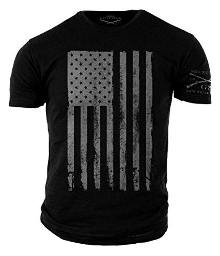 Grunt Style America Patriotic Flag Men's Shirt, Color Black, Size 2XL