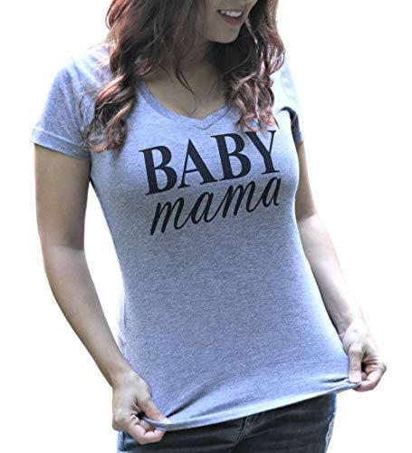 Baby Mama Heather Gray Soft Tri-Blend Women's V Neck Tshirt (Medium)