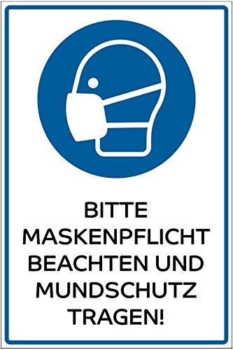 Hinweis-Schild 300x200 mm - Bitte Maskenpflicht beachten/Mundschutz tragen im Zuge des Corona Virus (COVID-19), Warnschild aus PVC Hartschaum Platte 200x300 mm - 3 mm stark