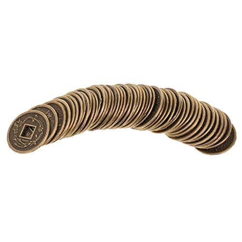perfk Juego de 50 Piezas Monedas de Feng Shui Durables Monedas de Fortuna Decoración de Hogar Protección Amuleto Oriental 2 cm
