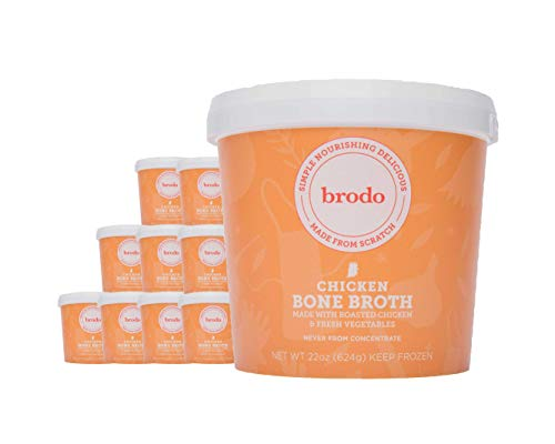 Chicken Bone Broth by Brodo, 10 Pack, Keto Diet, Gluten Free, Paleo Friendly, Whole 30 Approved, Supports Intermittent Fasting, 22 oz