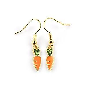 SCHMUCKZUCKER Damen Ohrhänger Glitzer Möhrchen Ostern Modeschmuck Ohrringe gold-farben grün orange