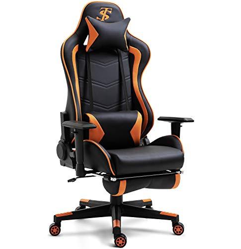 TIANSHU Gaming-Stühle Bürostuhl Gaming Stuhl Ergonomisches Design Einziehbare Fußstütze Verstellbare Armlehne und hohe Rückenlehne(Orange)