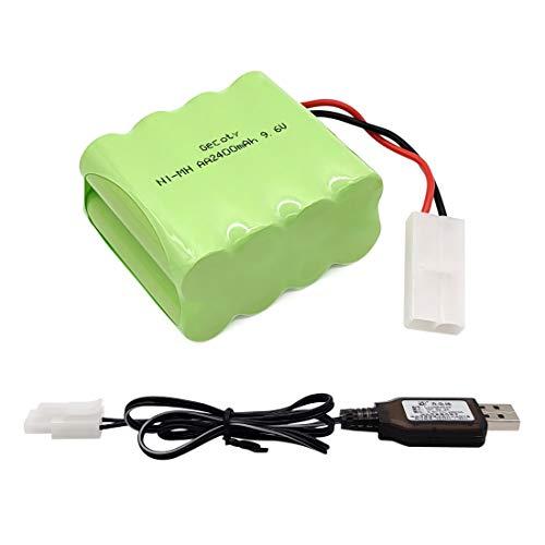 Gecoty® Batería de 9.6V NiMH, batería AA Recargable de 2400mAh, con Cable de Carga USB y Conector Tamiya, Adecuada para Camiones RC, Tanques de Control Remoto, acorazados de Control Remoto