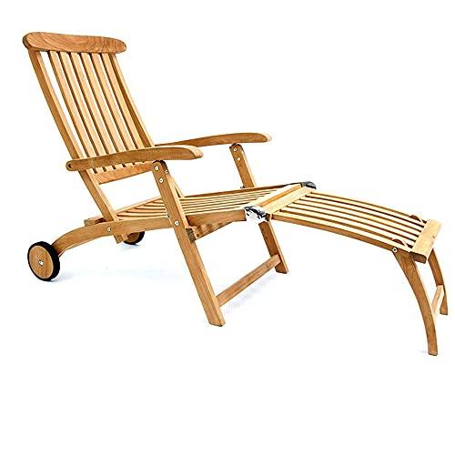 Garland Deckchair Bari Rollen Lehne Verstellbar Teak Holz SVLK Zertifiziert Fußablage Klappbar Liegestuhl Gartenliege Sonnenliege