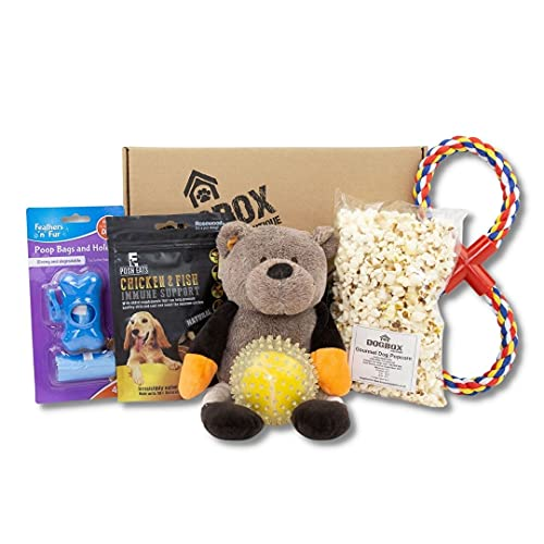 Dogbox Boutique The Original Dog Gifts Box Doggy Hamper Perfect For Dog Birthday, Xmas Or A Monthly Treat - Bursting Dog Treats, Toys And Accessories