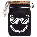 Urlaubs-Reise-Kasse XXL-Spardose mit Vorhängeschloss in Weiss/Geld-Geschenk Idee XXL Sparbüchse Glas Geldgeschenk/Korkdeckel mit Sparschlitz