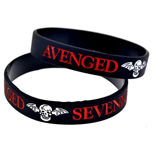 Xlin Pulsera Avenged Sevenfold Pulseras De La Estrella De Pulsera De Silicona con Las Manos Suaves (Color : Black)
