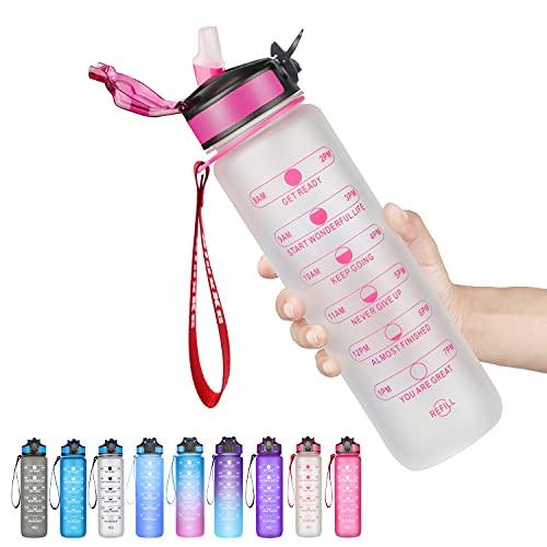 SLUXKE - Borraccia sportiva da 1 l, senza BPA, antifusione, con tracciatore di tempo, per campeggio, adulti, bambini, ciclismo, viaggio