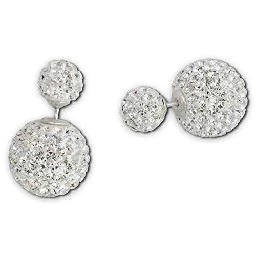 SilberDream Damen Doppel-Ohrringe Glitzerperlen weiß Tribal Design 925 Silber GSO651W